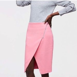 LOFT | Asymmetrical Zip Fleece Wrap Pencil Skirt |
